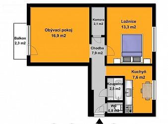 Pronájem bytu 2+1 s balkonem, Královo Pole