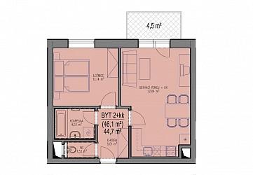 Prodej bytu 2+kk ve výstavbě v Brně - Bystrci