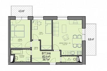 Prodej bytu 3+kk s garážovým stáním ve výstavbě v Brně Bystrci