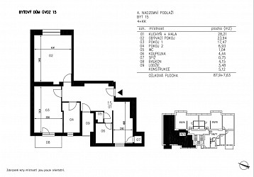 Prodej bytu 4+kk s balkonem a lodžií, Úvoz.